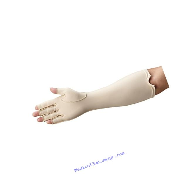 Rolyan Forearm Length Right Compression Glove, Open Finger Compression Sleeve to Control Edema and Swelling, Water Retention, and Vericose Veins, Covers Fingers to Forearm on Right Arm, Large