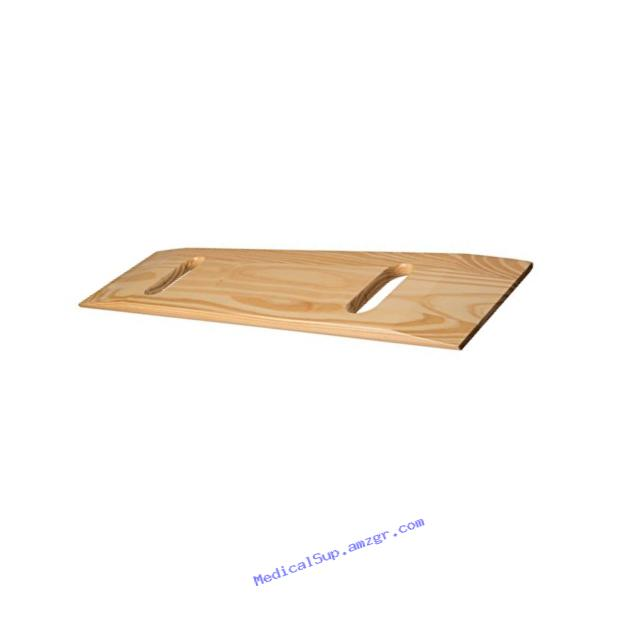 Mabis Wooden Transfer Slide Board, Wheelchair Transfer Board With Two Cut Out Handles, Southern Pine Slide Board