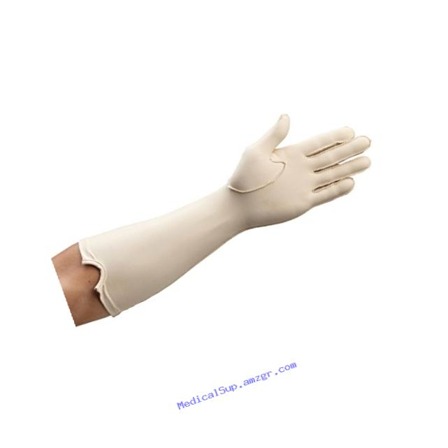 Rolyan Forearm Length Left Compression Glove, Full Finger Compression Sleeve to Control Edema and Swelling, Water Retention, and Vericose Veins, Covers Fingers to Forearm on Left Arm, Medium
