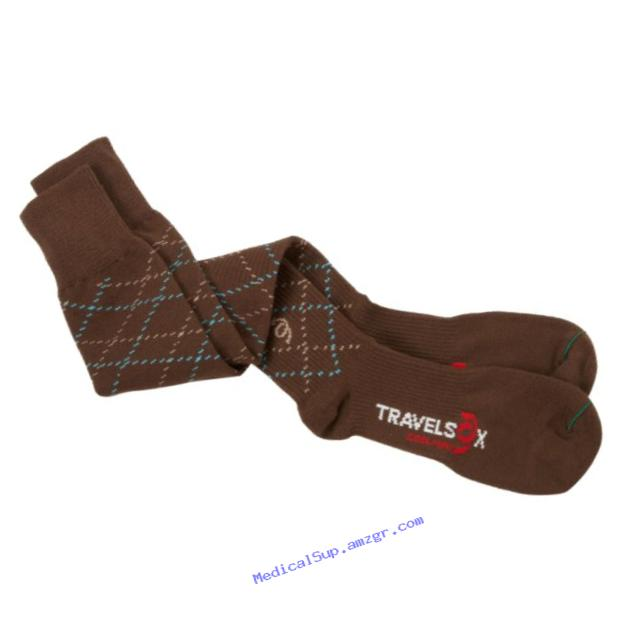 Travelsox Odissey Flight OTC Support Compression Travel Recovery Socks,TS5000, Brown, Large