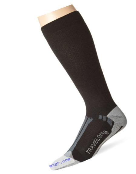 Travelon Compression Travel Comfortable Socks, Black/Gray, Large