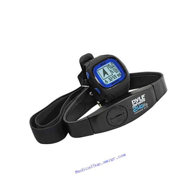 Pyle-Sports PSWGP405BL GPS Watch with Heart Rate Transmission, Navigation, Speed, Distance, Workout Memory, Compass, PC Link (Blue)
