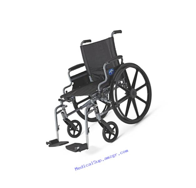 Medline Lightweight and User-Friendly Wheelchair with Flip-Back Desk Arms and Swing-Away Leg Rests for Easy Transfers, Gray, 20??? x 18