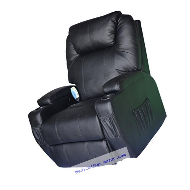 HomCom Heating Vibrating PU Leather Massage Recliner Chair - Black