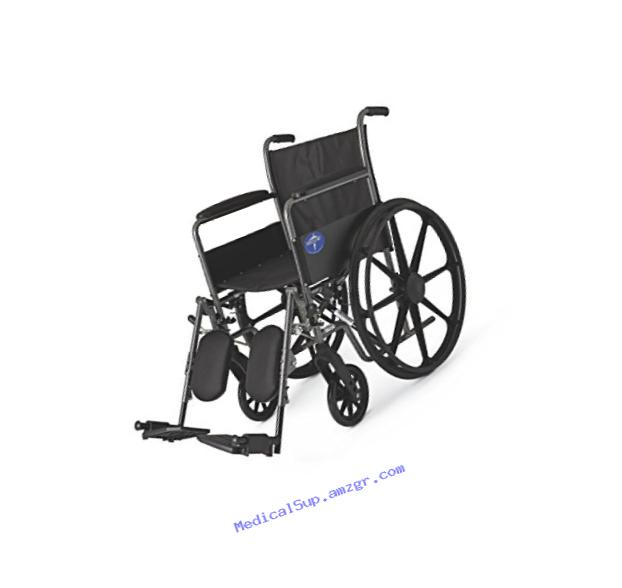 Medline Comfort Driven Wheelchair with Full-length Arms and Elevating Leg Rests for Extra Comfort, 18??? Seat