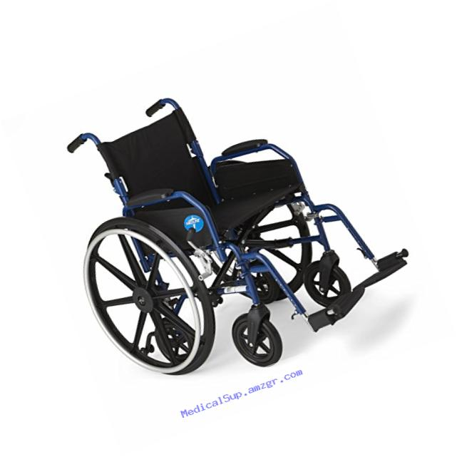 Medline Hybrid Wheelchair + Transport Chair with Removable Desk-Length Arms and Swing-Away Leg Rests, 18??? Seat