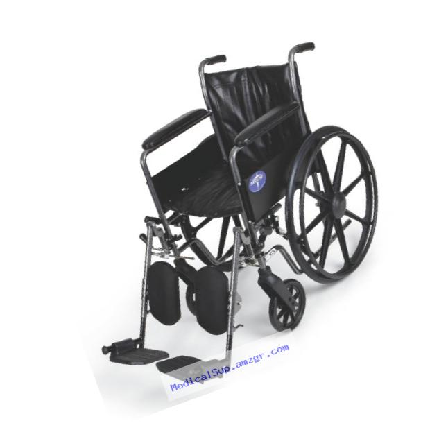Medline Easy-to-Clean and Durable Wheelchair with Full-Length Arms and Elevating Leg Rests for Extra Comfort, 18??? Seat