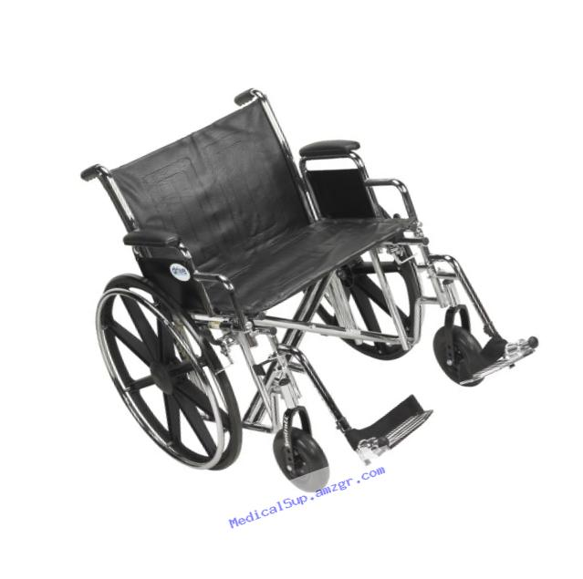 Drive Medical Sentra EC Heavy Duty Wheelchair with Various Arm Styles and Front Rigging Options, Black, Bariatric 22