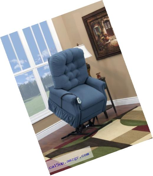 Medlift 1553W-AAW Wide-Petite Three Way Reclining Lift Chair, Aaron Williamsburg Blue