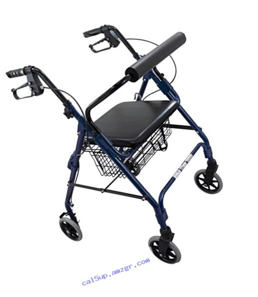 Roscoe Medical ROS-RL10040A-BL Wheel Rollator/Rolling Walker with Padded Seat, 6