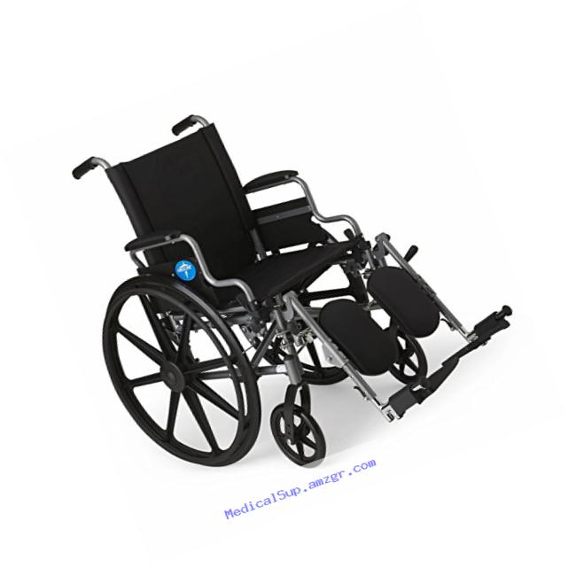 Medline Lightweight and User-Friendly Wheelchair with Flip-Back, Desk-Length Arms and Elevating Leg Rests for Extra Comfort, Gray, 18??? Seat