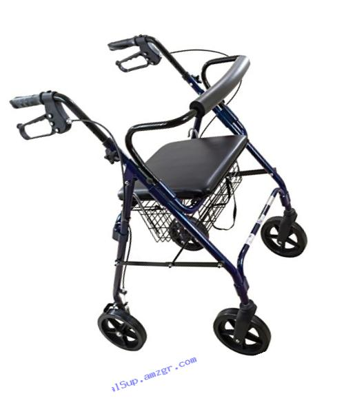 Roscoe Medical ROS-RL8BL Deluxe Wheel Rollator/Rolling Walker with Padded Seat, 8
