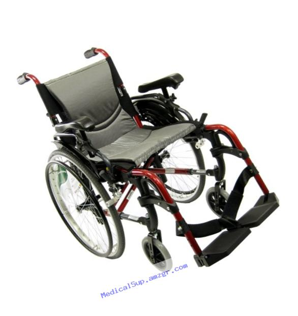 Karman S-ERGO 305 Lightweight Ergonomic Wheelchair S-ERGO305Q16RS, 29 lbs., Quick Release Wheels, Frame Rose Red, Seat Size 16