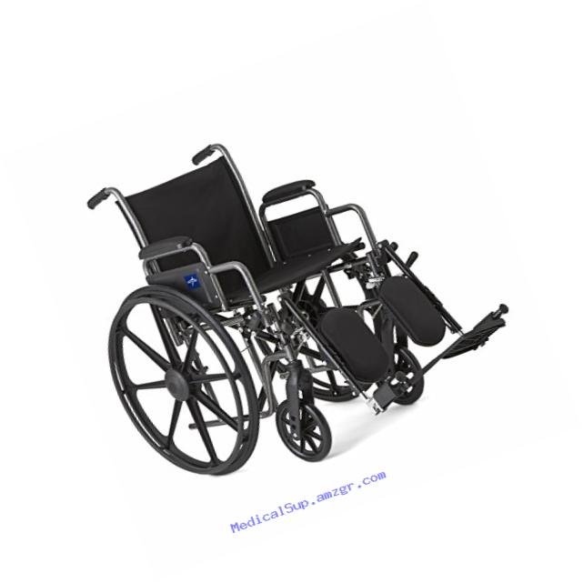 Medline Strong and Lightweight Wheelchair with Desk-Length Arms and Elevating Leg Rests for Extra Comfort, Gray, 18
