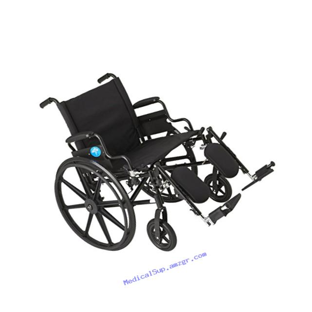 Medline Premium Ultra-lightweight Wheelchair with Flip-Back Desk Arms and Elevating Leg Rests for Extra Comfort, Black, 22??? x 18