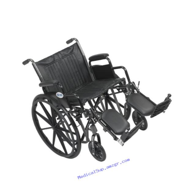 Drive Medical Silver Sport 2 Wheelchair with Various Arms Styles and Front Rigging Options, Black, 20