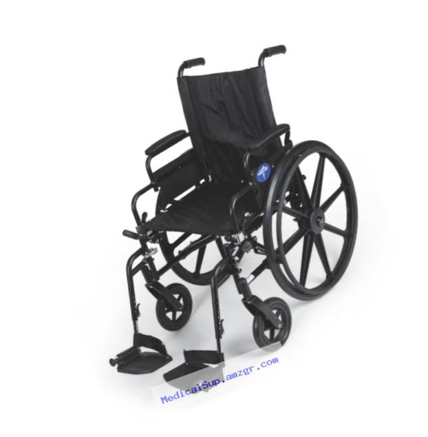 Medline Premium Ultra-lightweight Wheelchair with Flip-Back Desk Arms and Swing-Away Leg Rests for Easy Transfers, Black, 20